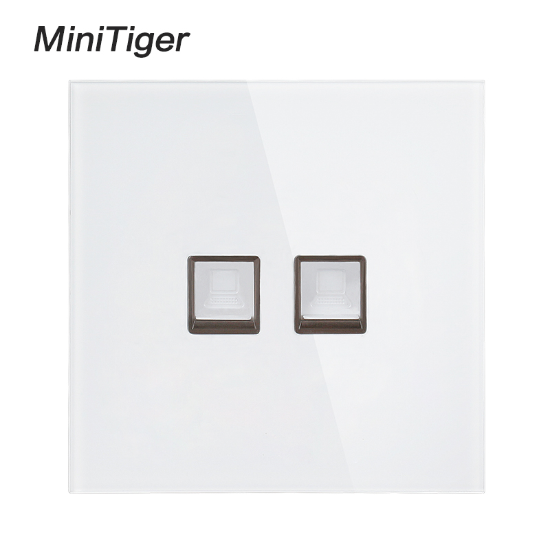 Minitiger White Luxury Crystal Tempered Glass Panel 2 Gang RJ45 Internet Jack Wall Data Double Socket Computer Outlet