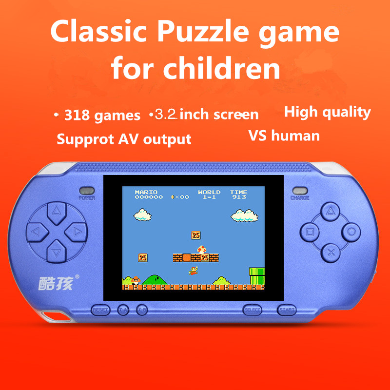 Handheld Game Consoles Game Player with 3.2 inch screen 318 Classic games PSP Support AV Double Player Puzzle game for children