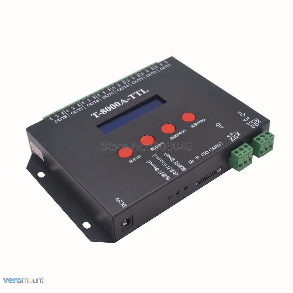 Contrôleur RGB T8000A T-8000A LED 8192 pixels pour WS2812B WS2811 TM1804 LPD6803 contrôleur de bande de LED de pixels IC avec adaptateur secteur