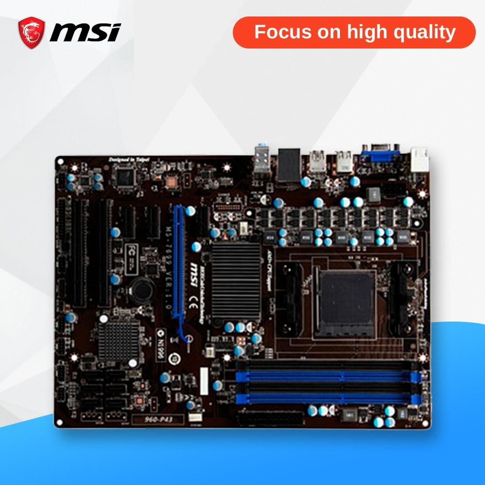 MSI 960-P43 Original Used Desktop Motherboard 760G Socket AM3+ DDR3 32G SATA2 USB2.0 ATX msi 970a g46 original used desktop motherboard 970 socket am3 ddr3 32g stat3 usb3 0 atx on sale