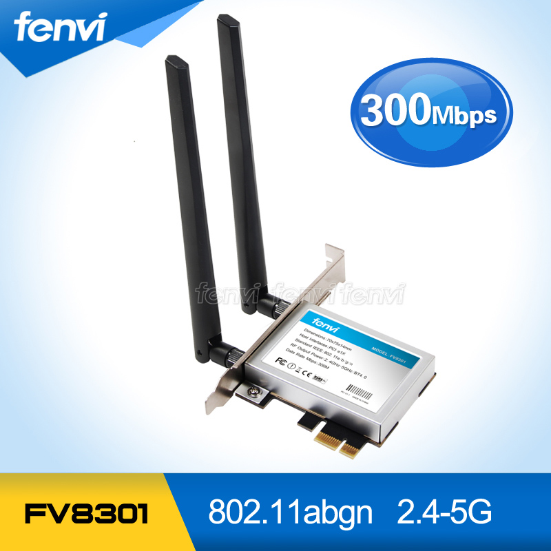 300Mbps Dual band Wifi PCI-E adapter Antennas Wireless Computer Network PCIe Card 802.11a/b/g/n Intel WiFi Wlan For Desktop PC proversion usb wifi 300mbps wireless n network adapter for xbox 360 live console