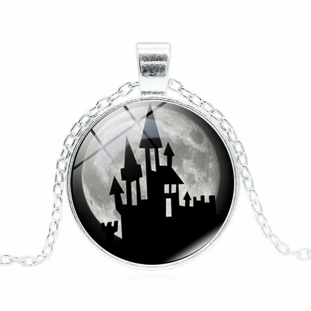 vintage halloween jewelry cabochon crystal necklace pendants statement for children gift chain silver color necklace