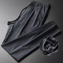 Minglu lyocell calças masculinas de luxo verão fino casual tornozelo comprimento calças mais tamanho 4xl altura qualidade magro elástico cintura homem calças