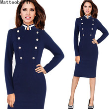 Womens Celebrity Elegant Vintage Ruched Long Sleeve Pinup vestidos Work Office Business Casual Party Fitted Pencil Dress Suit casual floral print bandage party wrap mini shirt dress women autumn elegant long sleeve office lady dresses vintage vestidos