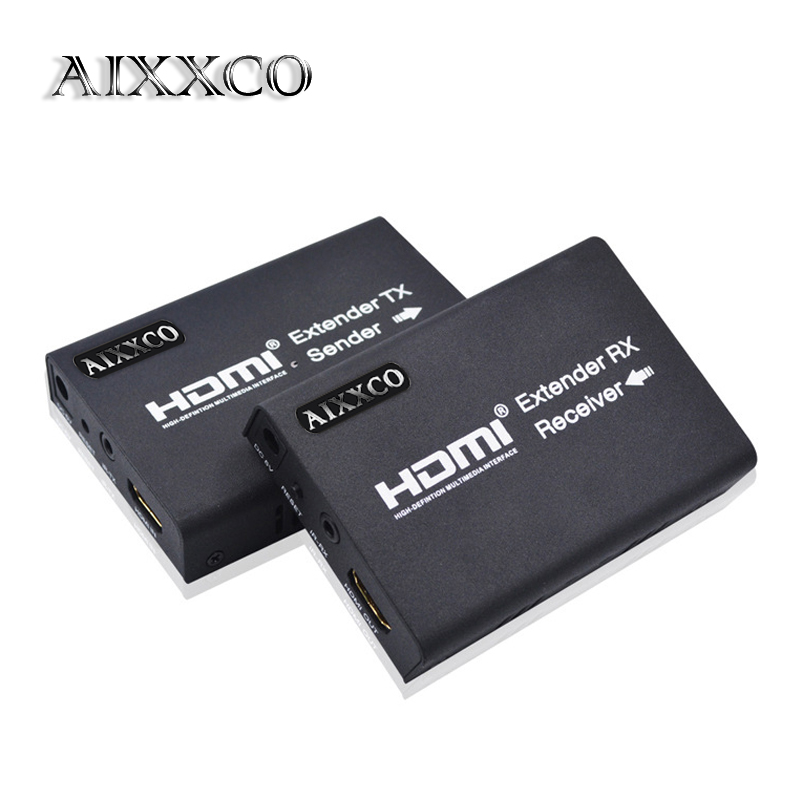 AIXXCO HDMI Extender 100m HDMI Repeater with IR Remote 1080P over Single RJ45 Cat5 Cat5e Cat6 Cat7 Cable Support for PC DVD PS3 support ir remote control mt viki 100m 330ft hdmi extender repeater over cat lan cable hdmi1 3 hdmi1 4b extension mt ed06 ir