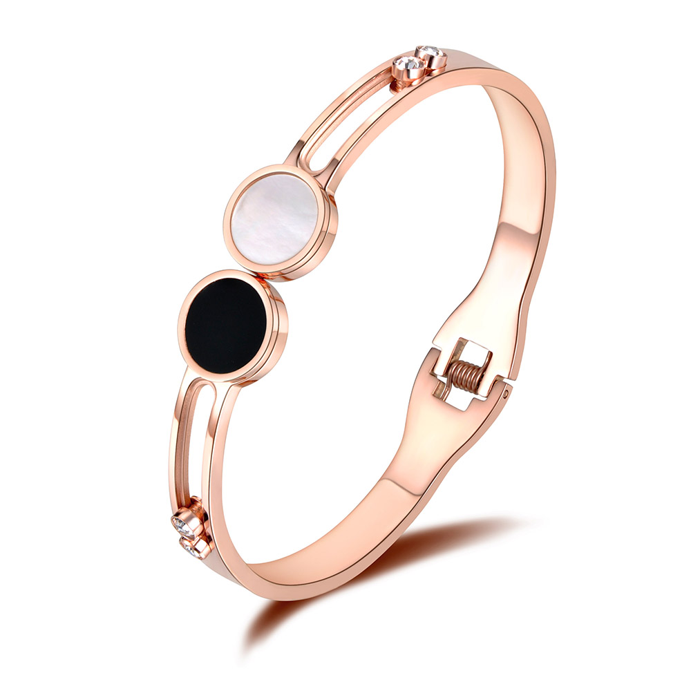 Stainless Steel Rose Gold Color Rhinestone Cubic Zircon Cuff Bangles Bracelets Lovers Jewelry Valentine's Day Gift B18054