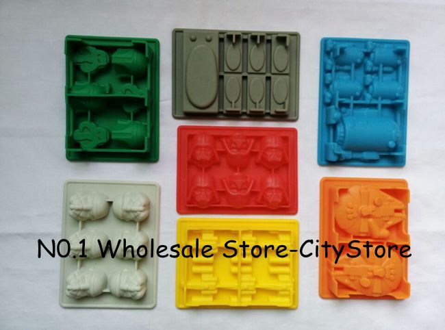 7pcs Death Star Wars Darth Vader Storm Trooper Falcon X-Wing Hans Solo Boba Fett Helmet  Silicone Mold  Ice Cube Tray Chocolate