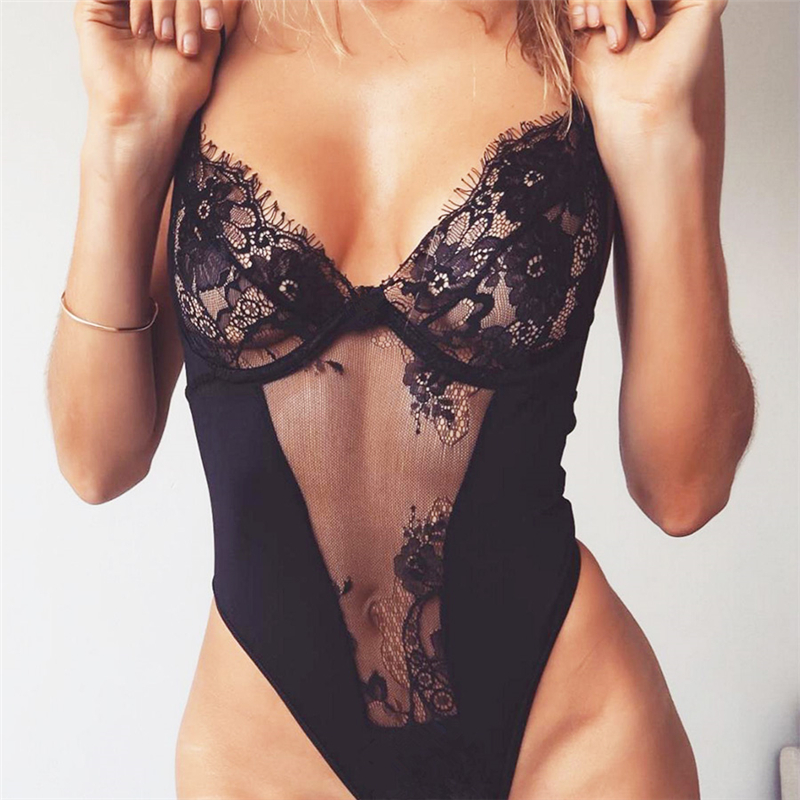 2018 Women Skinny Lace bodysuit hollow out black lingerie body feminino overall See-through Playsuit