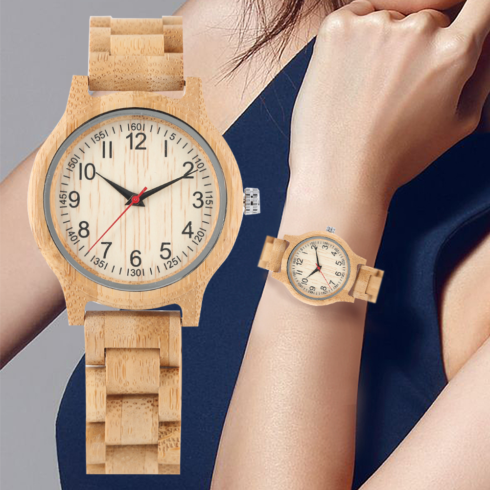 Women's Wristwatch Arabic Numerals-Dial Quartz Bamboo with Safety Strap Clasp Folding