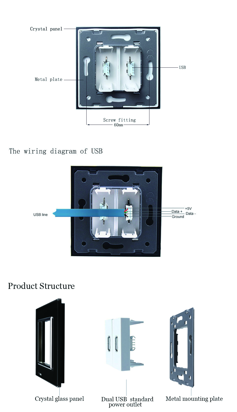 Welaik Free Shiping Crystal Glass Panel 1frame Eu Black Usb Socket Wiring Diagram Outlet Charging Power Supply A182usb