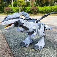 Spray Dinosaur Robot Electronic Pets Walking Robot Toys Roaring Swinging Flashing Lighting Electric Toys for Kids Children