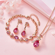 Women Embellished with crystals from Swarovski 18K Rose Gold Wedding Gold Jewelry Set