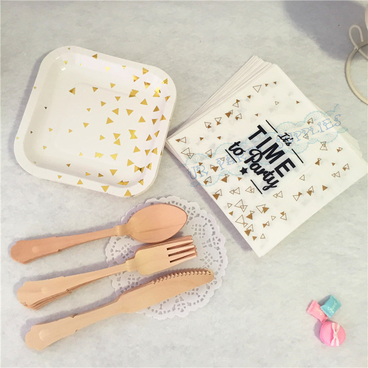 Free Shipping 16sets Gold Foil Disposable Tableware Party Paper Plates Paper Napkin Wooden Spoon Fork Knife Baby Shower Favor