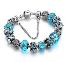 Rare Women's Crystal Beads Silver Plated Charm Bracelet