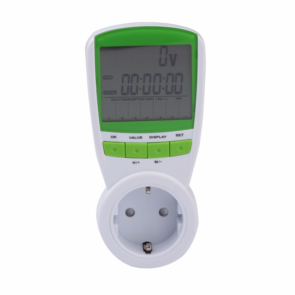 цена на AC 230V 50HZ Wattmeter Digital Energy Meter Watt Voltage EU Plug Max Factor Hertz Power Meter Power Analyzer Volt Meter Wattage