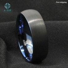 На вершине 8 мм купол матовый синий черный мужской вольфрама кольцо обручальное кольцо Свадебные украшения Бесплатная доставка