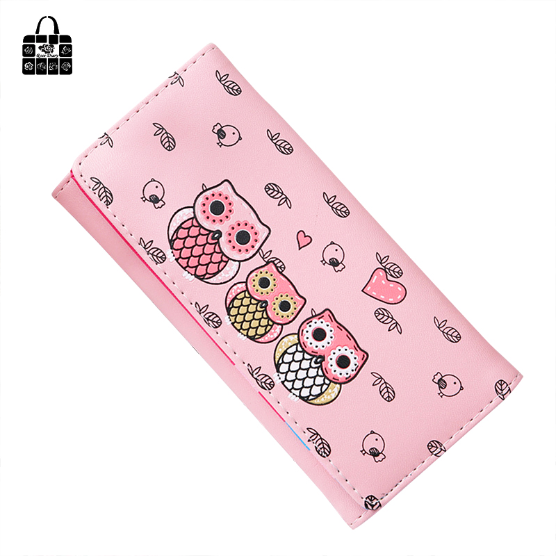 RoseDiary Fashion Cartoon Multicolor Cute Owl Long Wallet handbag PU Card Bag Coin Purse Key Bag Multi-function Clutch Bag Purse ...