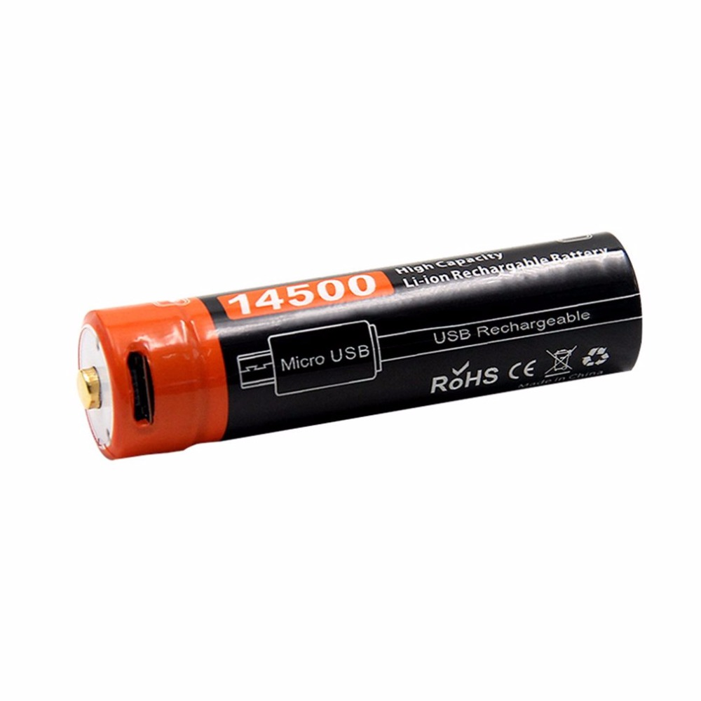 Doublepow 14500 3.7V 750MAH Li-ion Rechargeable Battery USB DC-Charging Battery Portable Size