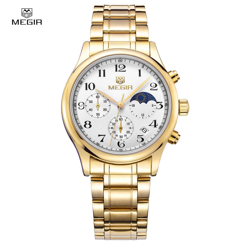 Prix pour Megir officielles chronographe date regarder workable petit cadran montres à quartz militaire montre en acier plein montre-bracelet relogio masculino
