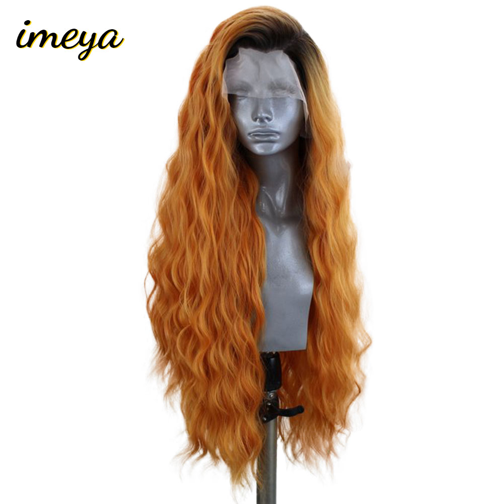 Imeya Black Roots Long Wavy Synthetic Lace Front Wigs Ombre Orange For Women Heat Resistant Fiber Glueless Cosplay Wigs image