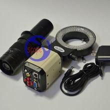 Buy online FYSCOPE 2.0MP HD Digital Industry Microscope Set Camera Magnifier VGA USB Video Output 180X C-MOUNT  PCB Lab+144pcs LED