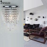 IMINOVO LED Crystal K9 E27 Silver WALL Light round Bedside 220V Wall Sconce Classic Vintage Wall Lamp home lighting living room