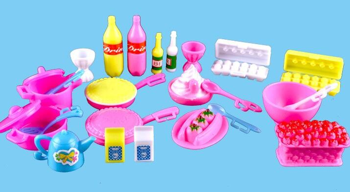 2016 New Toys Girls Toys Play House Mini Simulation Tableware Dolls Kitchen Pots And Pans Dishes Glasses Cutlery For Barbie Doll