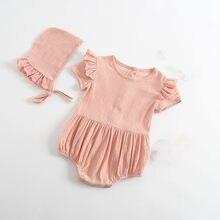 Verano otoño algodón lindo mamelucos infantiles Bebés Ropa Ruffles bebé  mameluco + sombrero Bebé Ropa 0 5f36cc02ace