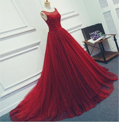 Robe De Soirée 2017 Vino Rojo de Encaje Rebordear Backless Atractivo Largo Vesti
