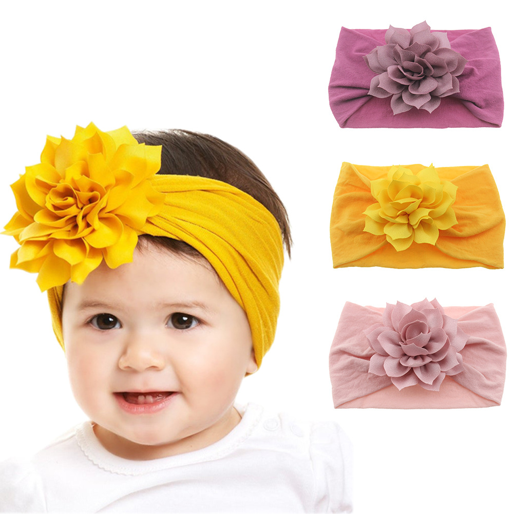 Fashion Newborn Toddler Baby Girls Head Wrap Lotus Flower Knot Turban Headband Hair Accessories Birthday Gifts For 0-3Y