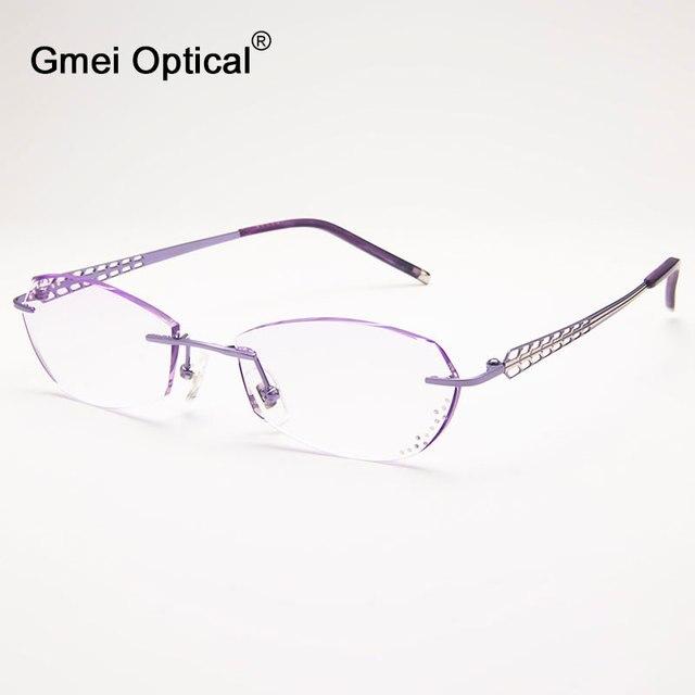 Gmei Оптический Q1813 Без Оправы Алмазные Моды Очки для Женщин Защитных Очков Кадр Очки