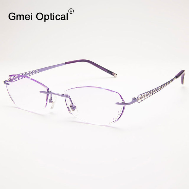 70804454dc8 Gmei Optical Q1813 Rimless Diamond Cutting Fashion Eyeglasses for Women Eyewear  Frame Glasses