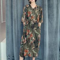 2017 Women Vintage Birds Print Long Dress Elegant Vestidos Casual Loose V Neck Sashes Girl Three