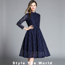 2019 summer Women slim Dress Stand Collar Long Sleeve Hollow Out High Quality Elegant Office Lady Lace Dress Vestidos robe femme