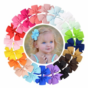 ( 20 pcs/lot) High Quality 3 inch Grosgrain Ribbon Boutique Bows With Clip Hairpins For Kids Girl Hair Accessories 564 - discount item  21% OFF Headwear