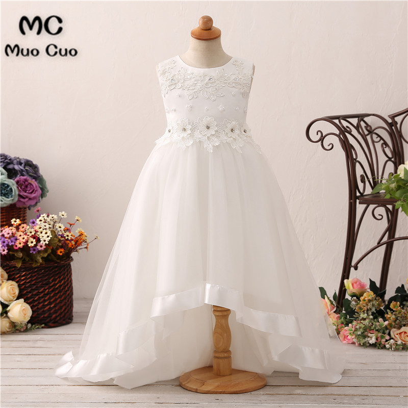 Puffy 2018 Baby   Dresses   first communion   dresses   for   girls   with   Flowers   Beads kids evening gowns   flower     girl     dresses   for weddings