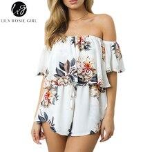 Лили Rosie девушка Бохо белый цветочный с открытыми плечами оборками Комбинезоны Для женщин спинки пикантные летние пляжные комбинезон короткие Комбинезоны для малышек общая