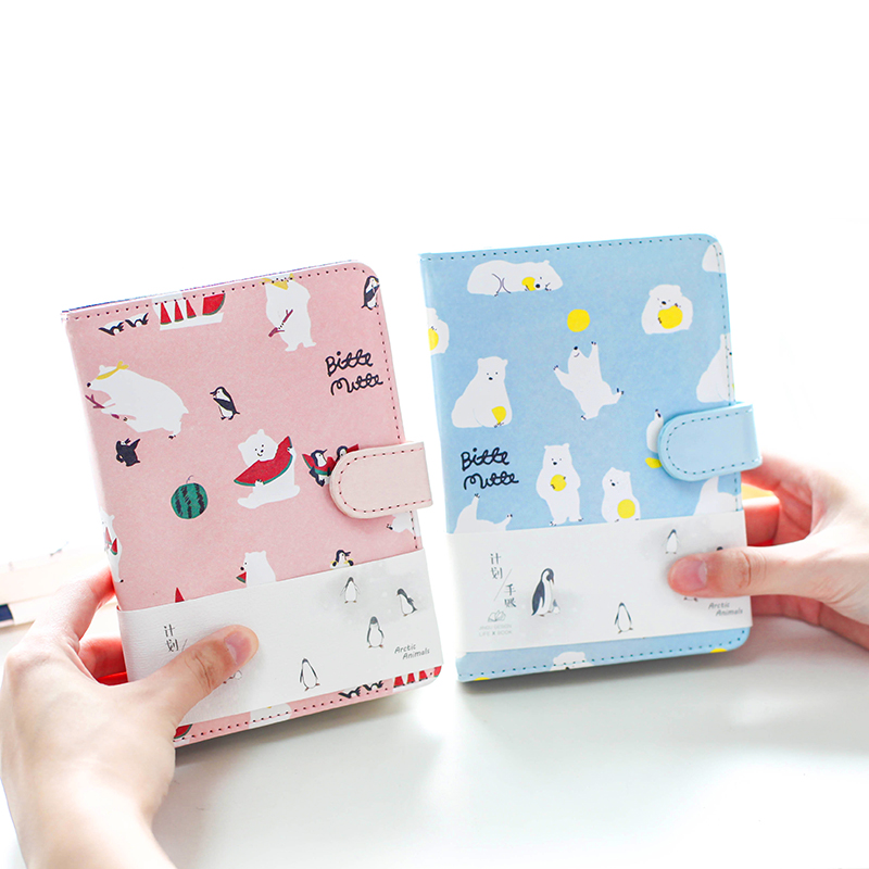 Hardcover Notebook Cute 128 Sheets Magnet Buckle Faux Leather Wallet A6 Planner School Supplies Papelaria Office Stationery hardcover diary notebook cute 128 sheets faux leather a6 planner school supplies papelaria office stationery children gifts