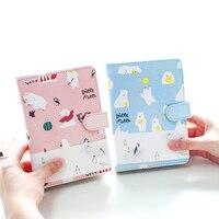 Twarda Notebook Śliczne 128 Arkusze Magnet Klamra Faux Leather Wallet A6 Planner Szkolne Materiały Biurowe Papelaria