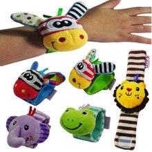 Купить с кэшбэком New Cartoon Baby Toys 0-3 Years Soft Animal Baby Rattles Children Infant Newborn Plush Sock Baby Toy Wrist Strap Baby Foot Socks