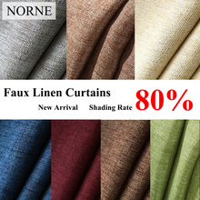 NORNE New Fabric Solid Color Faux Linen Blackout Curtains for Living Room Modern Bedroom Window Curtains kitchen Curtains Blinds norne 30