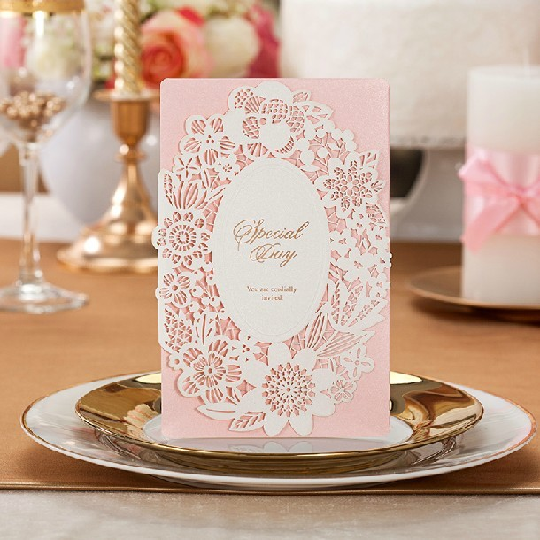 30pc lovely pink wedding invitations cards flower laser cut bridal 30pc lovely pink wedding invitations cards flower laser cut bridal shower invitations include envelope filmwisefo Image collections