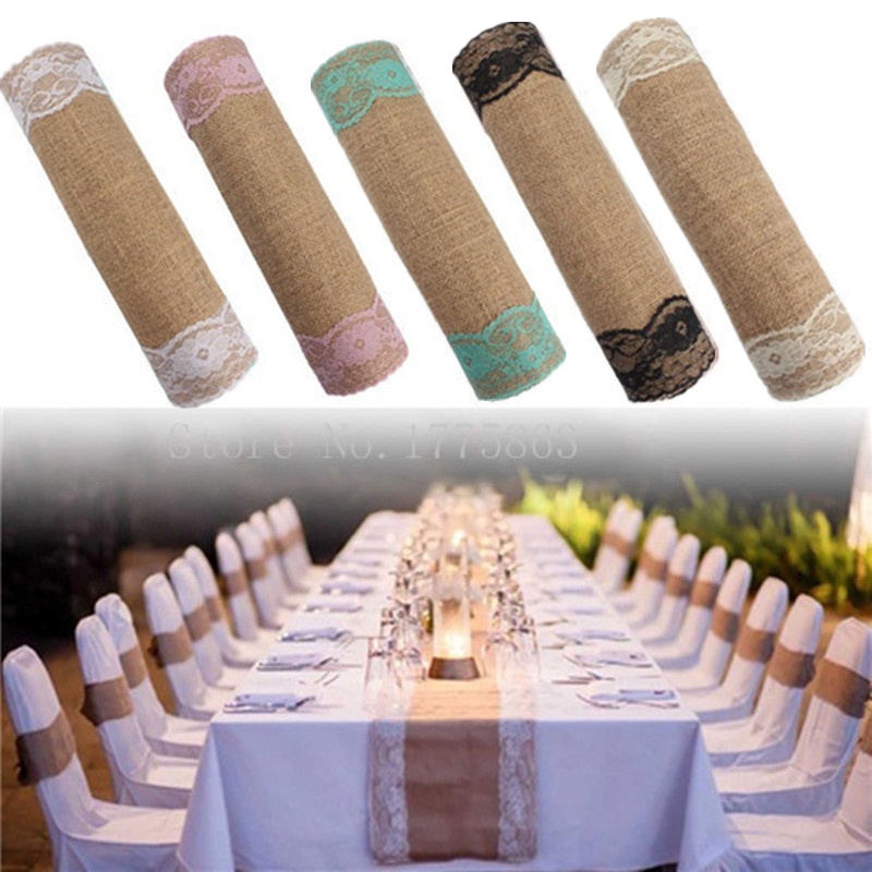 Christmas Decor 30x275cm Rustic Burlap Lace Hessian Table Runner Natural Jute For Wedding Decoration  12x108