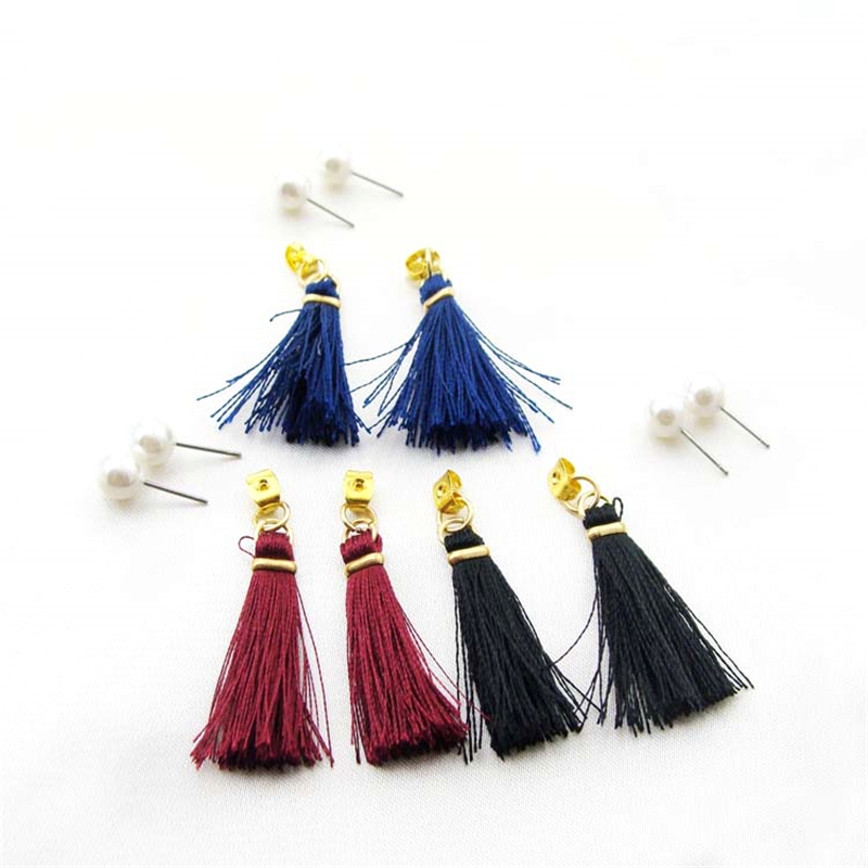 Women Special store Gold alloy black red blue cotton rope tassel pendant hanging Earrings brincos female earing