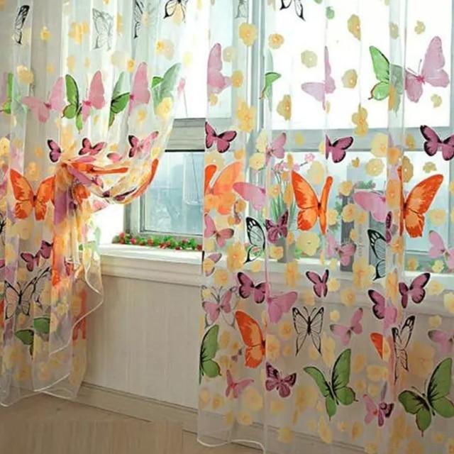 Farfalla Tende Della Finestra per Soggiorno camera Da Letto Ricamato Tende di Vo