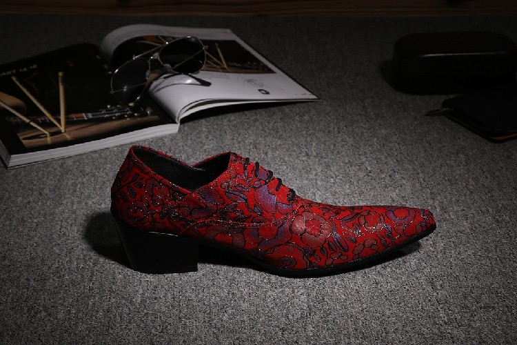 CH. KWOK Rode Handgemaakte Lederen Mens Designer Dress Schoenen Puntschoen Mannen Lace Up Oxford Hakken Schoenen Florals Wedding formele Oxfords - 2