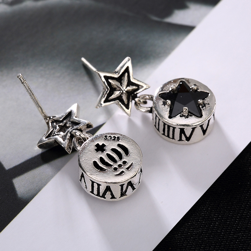 A deer silver S925 Silver Star retro word pattern mosaic anti allergy personality all-match Ms. earrings wholesale
