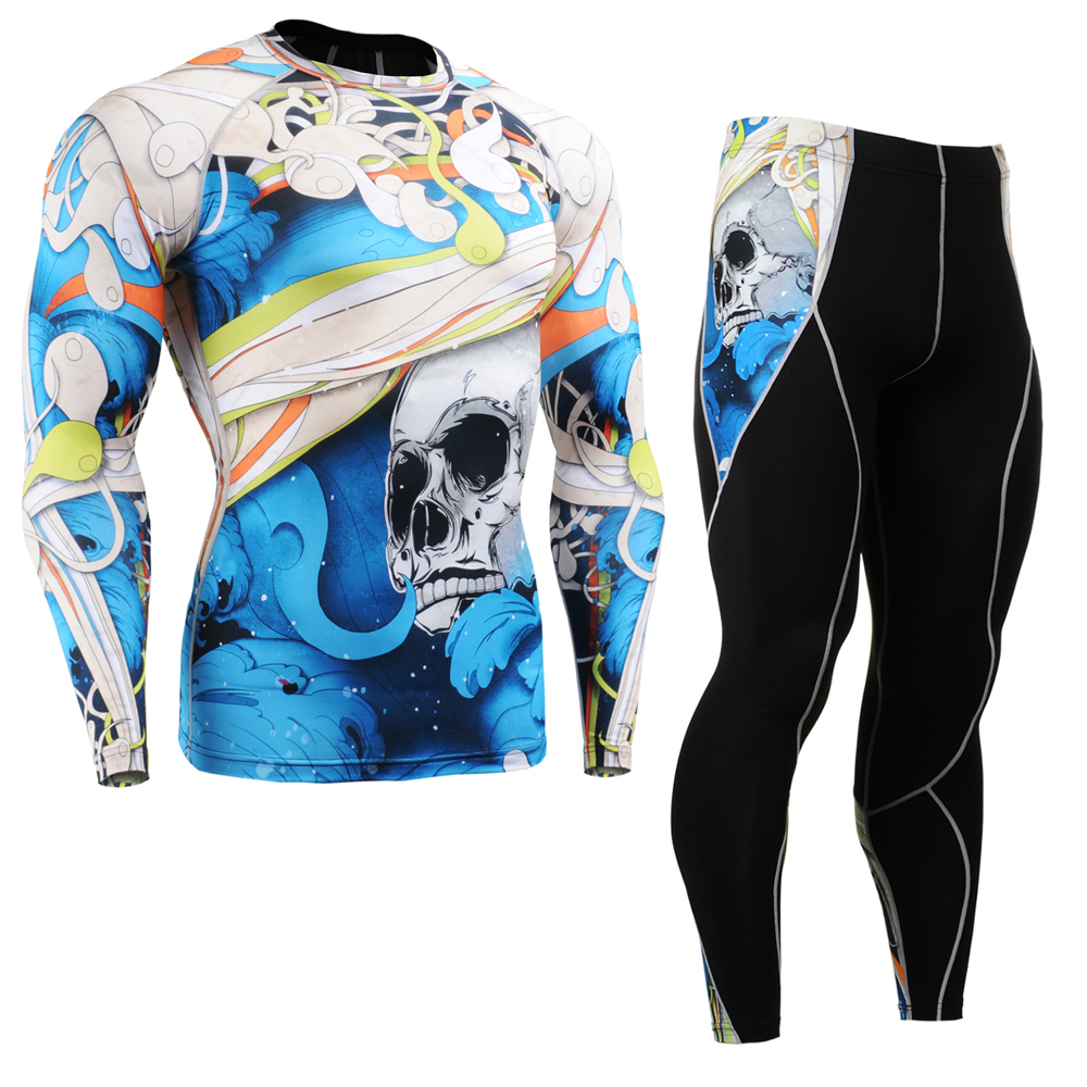 Men's Compression Long Sleeve Shirt & Pants Set Quick Dry Gym Outfit UV Rash Guards Male Workout Clothes Sports Training Suit mcdavid 6300 dual compression knee sleeve