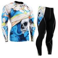 Uomini di Compressione A Manica Lunga Shirt & Pants Set Quick Dry palestra Outfit UV Rash Guards Maschio Allenamento Abbigliamento Sportivo Formazione vestito