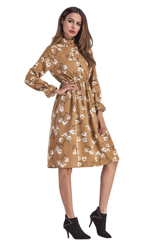 f01fa8c95 SunnyYeah Floral Vintage Vestido Otoño Invierno Mujeres Vestidos ...